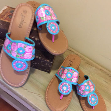 Hand painted sansals inspired by jack rogers with a lilly pulitzer like design. Mother daughter sets now available!!