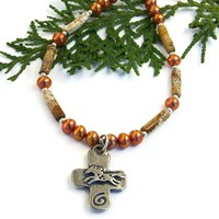 Horse and Heart Rustic Cross Necklace, Picture Jasper Southwest Gemstone Handmade Jewelry