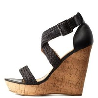 Black Basket-Woven Wedge Sandals by Charlotte Russe