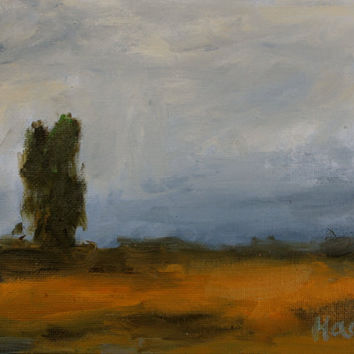 ROAD TO BENICIA - 6 x 8 - Oil Painting - Cloudy Sky - Small Painting - Blue - Eucalyptus Tree - Landscape - Abstract - Original Artwork