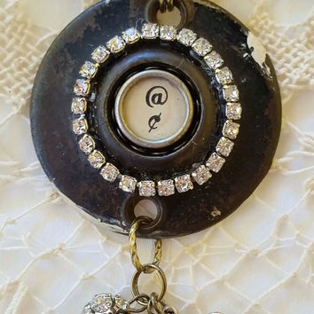 Antique Doorknob Escutcheon Plate, Cent Typewriter Key, Vintage Hardware Necklace, Upcycled Jewelry, Steampunk Style, Assemblage Necklace