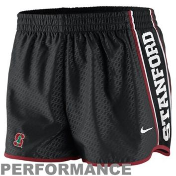 Nike Stanford Cardinal Womens Chainmaille Pacer Performance Shorts - Black