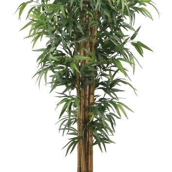 """84"""" Tall Silk Bamboo Tree Artificial Lifelike Faux w/ Brown and Bronze Wood Planter"""