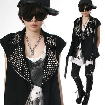 RTBU Vegan Punk Rock Heavy Metal Spike Stud Cotton Motorcycle Biker Vest Jacket
