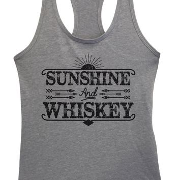 Womens Sunshine And Whiskey Grapahic Design Fitted Tank Top