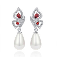 Shell Pearl W. Red Teardrop and Clear Round Cubic Zirconia Earrings