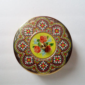 Vintage English Round Tin Container Red Green Gold Yellow Blue Floral Roses Daher