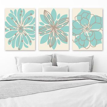 Floral Bathroom WALL ART, Floral Bedroom Decor, Flower Wall Artwork CANVAS or Prints, Aqua Beige Flower Wall Decor, Set of 3 Pictures