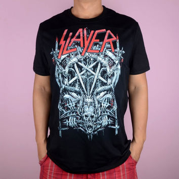 Free shipping  Slayer   Metal four giant Evil Crest punk Heavy metal  T Shirt