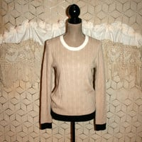 Womens Sweater Cable Knit Wool Beige Pullover Sweater Preppy Color Block Sweater Small Medium Ann Taylor Womens Clothing