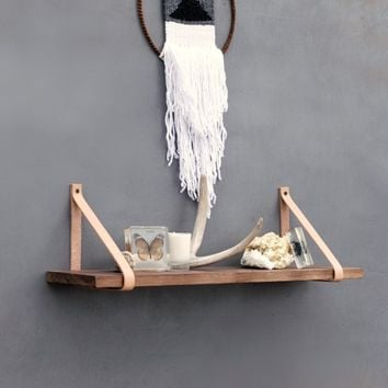 The Oryx Shelf - Walnut Wood Hanging Shelves - Leather Strap wood shelving - Rustic Wall Bookshelf - Modern Floating mantle