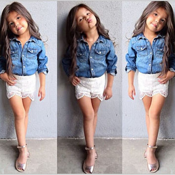 Baby Girls Kids Jeans Denim Tops Shirt+ Lace Short Pants Set Outfits Clothing 2pcs Free Shipping