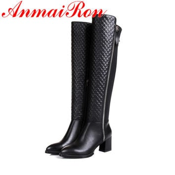 ANMAIRON newest Leather Knee high boots winter boots women ladies'shoes sexy Motorcycle boots for women sapatos femininos new