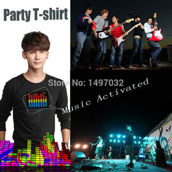 T-shirt Sound Activated Flashing cosplay Light Up Down Music Party Equalizer LED TShirt it is fantastic