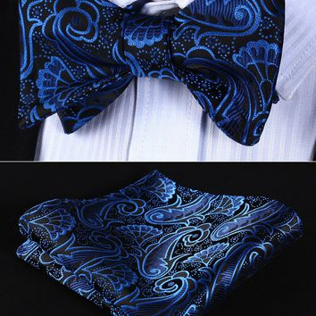 Pocket Square BP819BS Blue Black Paisley Bowtie Men Silk Self Bow Tie handkerchief set Wedding