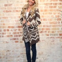 Comfy Hooded Chevron Sweater