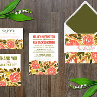 Wedding Invitation Suite Digital & Instant Download Printable Templates - Watercolor Flower