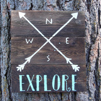 """Joyful Island Creations """"Explore"""" large wood sign/ arrow compass sign/ white and turquoise sign"""