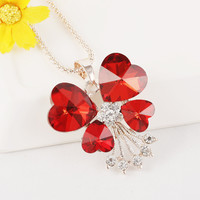 Jewelry New Arrival Shiny Gift Korean Stylish Rhinestone Creative Strong Character Red Crystal Sweater Chain Accessory Necklace [6049337217]