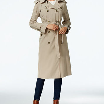 London Fog Hooded Double-Breasted Trench Coat, Only at Macy's - Coats - Women - Macy's