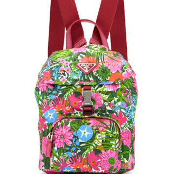 Prada Nylon Small Floral-Print Backpack, Pink (Fuoco)