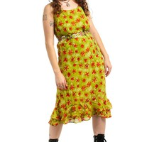 Vintage 90's Key Lime Daisy Dress - XL