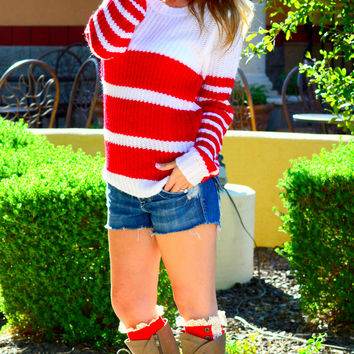 SWEATER WEATHER KNIT SWEATER IN RED
