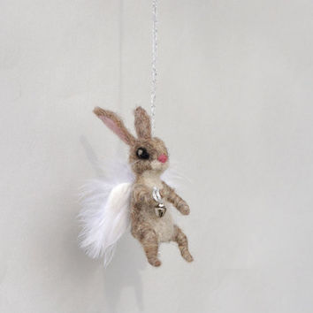 Christmas Angel bunny Christmas tree ornament Fairy rabbit Felt bunny Hanging figurine Waldorf angel Xmas decor Cute Christmas ornament