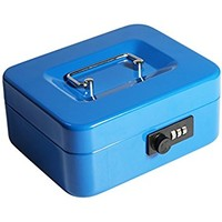 """Decaller Cash Box with Combination Lock, Safe Metal Small Locking Box with Money Tray, 7 4/5"""" x 6 4/5"""" x 3 3/5"""", Blue, QH2005S"""