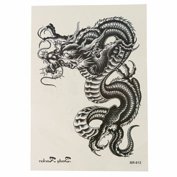 Waterproof Black Dragon Temporary Tattoo Sticker Removable Body Arm Leg