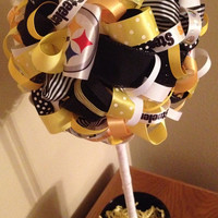 NFL Teams:  X-Large Steelers Ribbon Topiary.  Black, Yellow & White. Great game-watching and birthday party decoration, gifts or room decor!