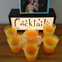 Set of 6 Blendo Style Rocks Glasses Made by Continental Glass Company, 1960s Orange Ombre Cocktail Glasses, Mid Century Modern Barware