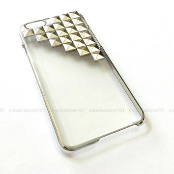 Clear iphone 6 case, Silver Edge, iphone 6 rivet stud case, iphone 6 plus rivet stud case #243