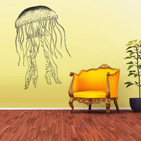Wall Vinyl Sticker Decals Decor Jellyfish Deep Sea Ocean Fish Detailed Monster Scuba Tentacles (z1564)