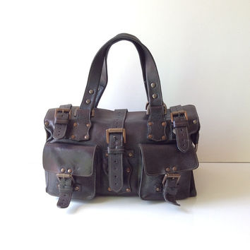 Mulberry Dark Brown Leather Buckle Vintage Bag