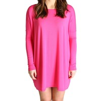 French Rose Piko Tunic Long Sleeve Dress