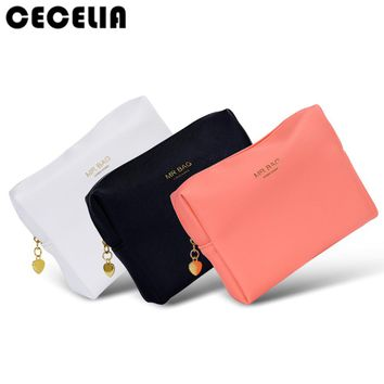 Cecelia Candy color PU Leather Cosmetic Bag Women MakeUp Bag Organizer Waterproof Storage Bag Neceser