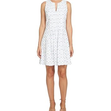 CeCe Sleeveless Pintuck Clip Dot Dress | Dillards