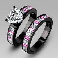 White Heart Shaped CZ Wedding/Engagement Set With Pink and Clear Stones - Black Gold Plate (BLF-1740)