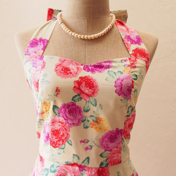 Ready to Ship - special floral dress, vintage inspired dress, halter with swing skirt, floral Party Dress, floral bridesmaid dress, S,M,L,XL