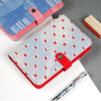 2018 Creative Korean Denim Cover Cute Kawaii School&Office Sketch Ring Binder Dairy Organizer Weekly Planner A5 A6 Notebook