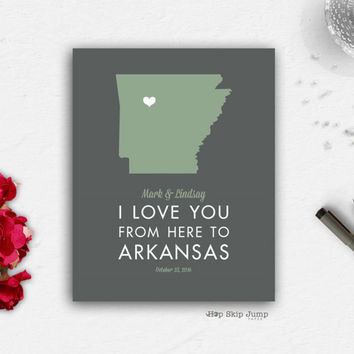 Personalized Arkansas State Map Travel Poster