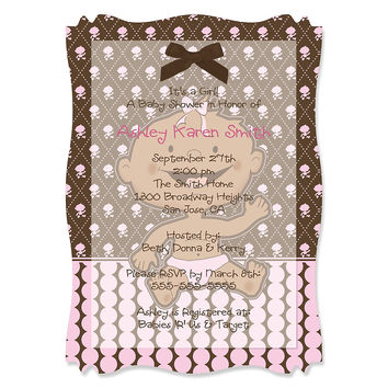 Modern Baby Girl African American - Personalized Baby Shower Vellum Overlay Invitations