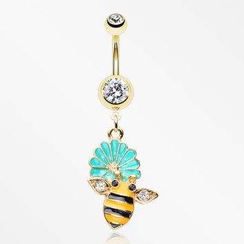 Golden Sweet Daisy Bumble Bee Sparkle Belly Button Ring