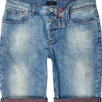 River Island MensLight wash contrast rolled up denim shorts