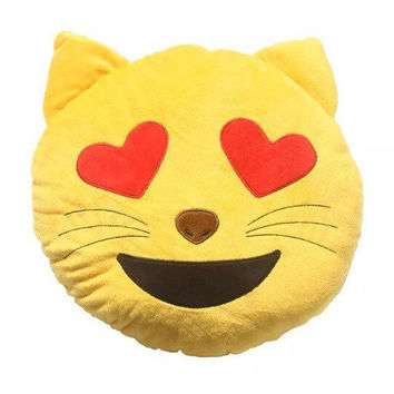 Emoji Cat Heart Eyes Throw Pillow