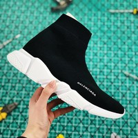 Balenciaga Stretch In Black Knit Speed Trainers With White Textured Sole Sneaker - Best Online Sale