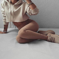Causal Sporty Hooded Sweater Crop Top 12693