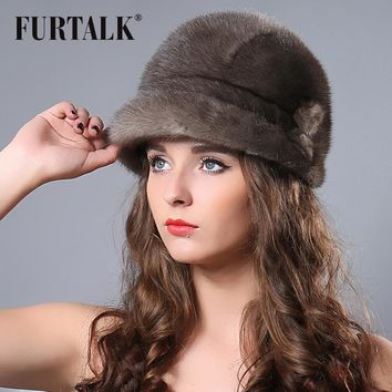 FURTALK russian winter real mink floppy bucket hat for women