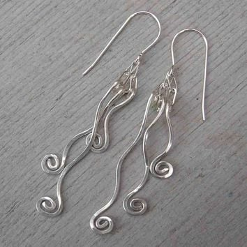 Tangle Dangle Swinging Vines Long Silver Earrings - Sterling Silver Wire Dangle Earrings